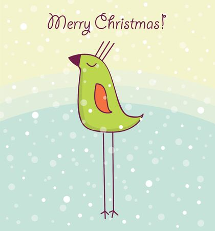 Christmas card with happy bird Vector