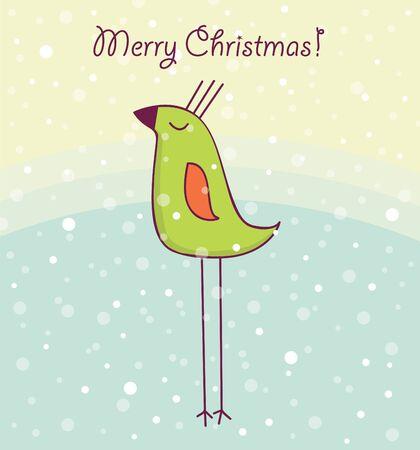 Christmas card with happy bird