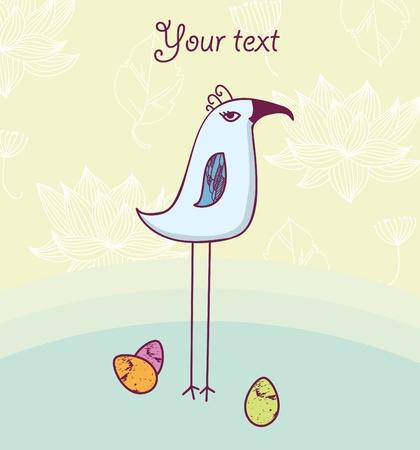 Cute bird with eggs