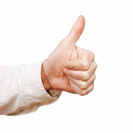 Thumb up isolated on white background Stock Photo - 12815276