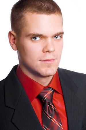 closeup portrait of businessman isolated on white photo