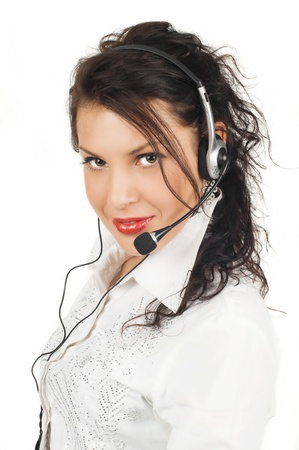 brunette business woman operator of service isolated on white background Stock Photo - 13304495