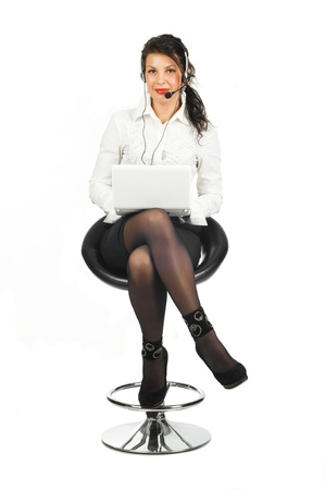 brunette business woman with laptop isolated Stock Photo