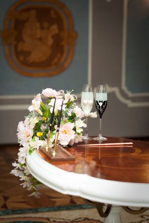 beautifully decorated wedding glasses with champaign Stock Photo - 15407848