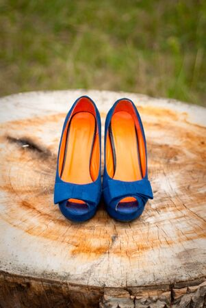 Blue wedding shoes bride Stock Photo