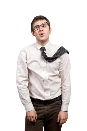 Tired young man in frustration over white background