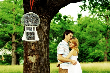 Close up portrait of attractive young couple in love outdoors  Stock Photo