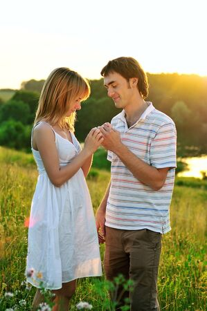 a young couple in love outdoors Stock Photo - 15531559