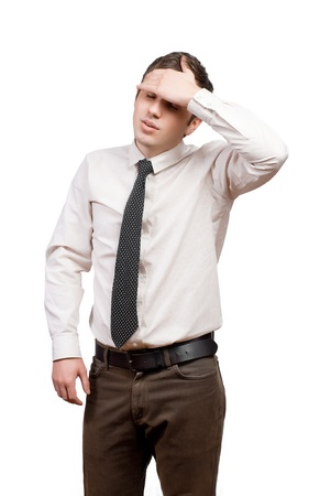 a young man suffering from headache Stock Photo - 18208868