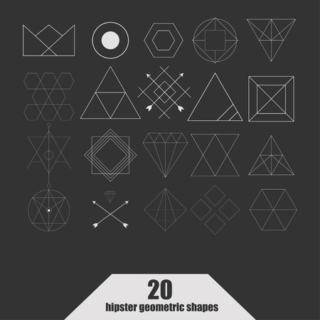 occultism: Set of vector trendy geometric icons. Alchemy symbols collection. Religion, philosophy, spirituality, occultism. Illustration