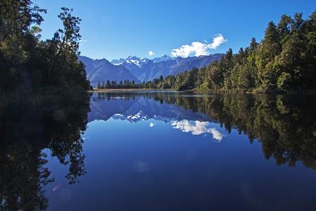 Trekking around Mirror lake on South island, New Zealand