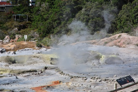 Walk through the thermal Park in Rotorua, New Zealand