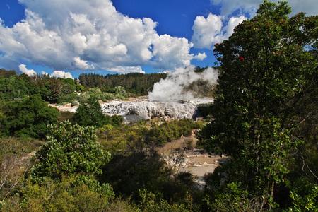 Walk through the thermal Park in Rotorua, New Zealand