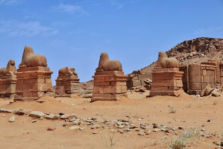 The ruins of an ancient Egyptian Temple in the desert of Sudan, Nubia Фото со стока