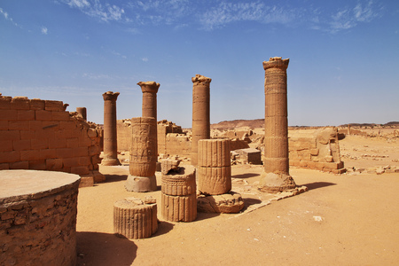 Kingdom Kush - the ruins of the Temple in the desert of the Sudan