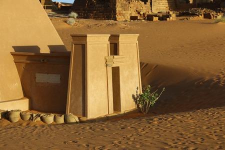 The ancient pyramids of Meroe in Sudans desert Banco de Imagens
