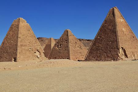 Pyramids of the ancient world in Sudan 版權商用圖片 - 122256782