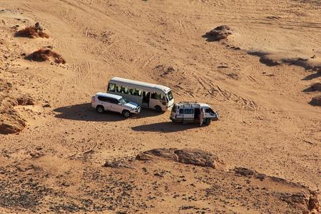 Cars in desert Sahara in Sudan