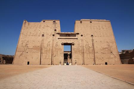 Edfu temple on the Nile river in Egypt Stock Photo