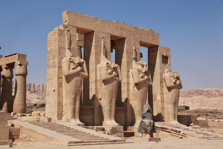The ancient temple of Ramesseum in Luxor, Egypt