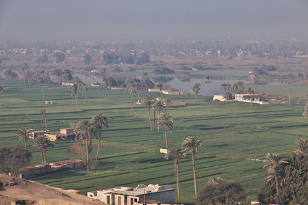 View on Nile river in Amarna, Egypt Stock Photo