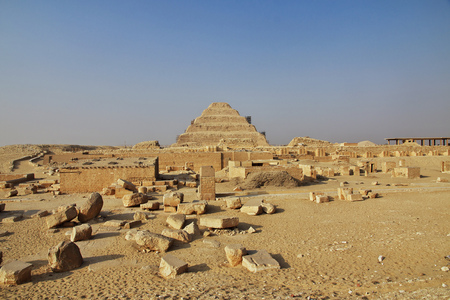 Ancient pyramid of Sakkara in the desert of Egypt 版權商用圖片
