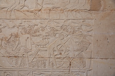 Frescos in Necropolis of Saqqara, in the desert of Egypt Banque d'images - 124857217