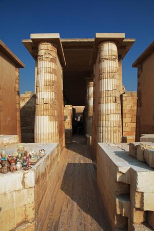 Colonnade of Sakkara in the desert of Egypt Banco de Imagens