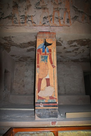 Luxor, Egypt - 28 Feb 2017. Frescos in the ancient necropolis Valley of the Kings in Luxor Editorial