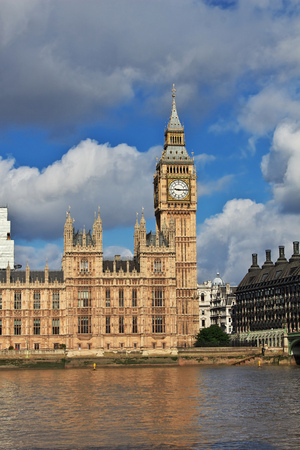 The building of British Parliament in London city, England