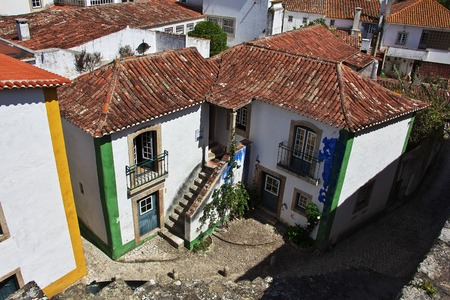 Roofs of the building in old city Obidos, Portugal
