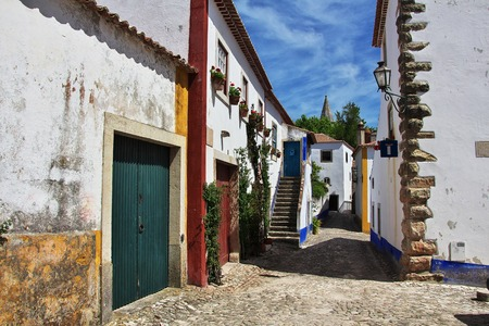 The street in old city Obidos, Portugal Stock Photo