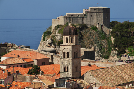 Roofs in Dubrovnik city on the Adriatic sea, Croatia 스톡 콘텐츠
