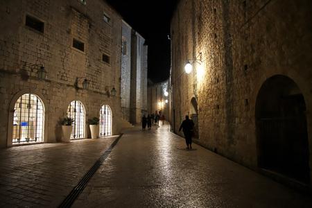 Night at Dubrovnik city on the Adriatic sea, Croatia