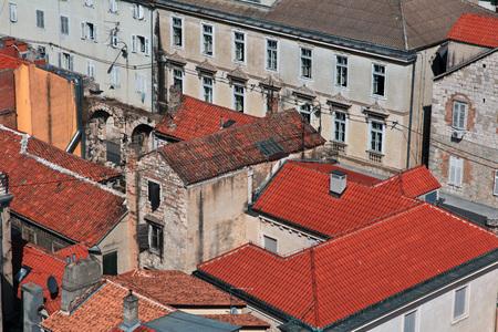 Roofs in Split city on the Adriatic sea, Croatia