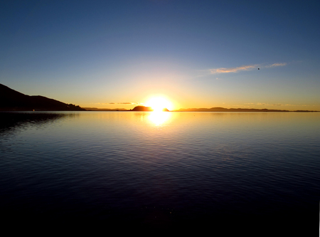 Sunrise at Lake Titicaca in Andes, Peru and Bolivia