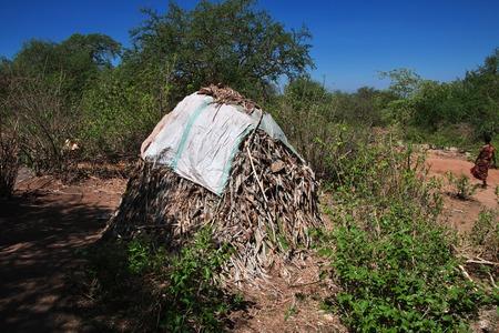 House in village of Bushmen, Africa Stock Photo