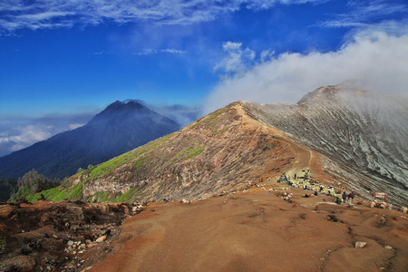 On the top of Ijen volcano, Indonesia