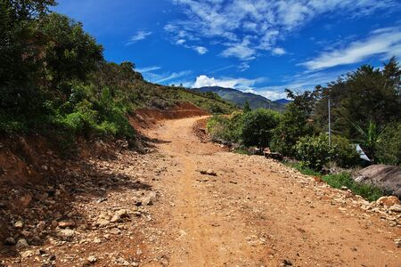 The tracking in valley of Wamena, Papua Stock Photo