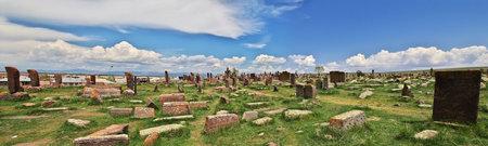 Noratus, Armenia - 06 May 2013. Noratus cemetery on Sevan lake, Armenia Stock fotó - 129280682