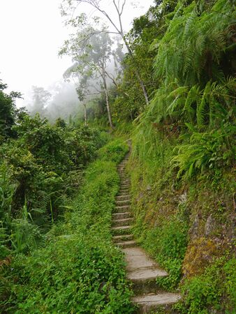 The road on mountains in Banaue, Philippines