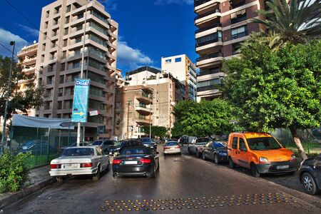 The street in Beirut city, Lebanon Editorial