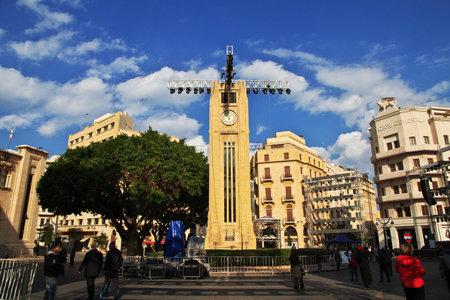 Beirut, Lebanon - 30 Dec 2017. The clock tower in Beirut city, Lebanon