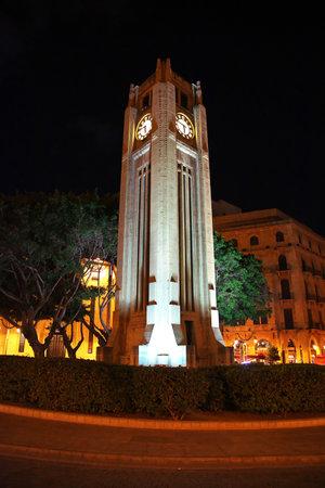 Beirut, Lebanon - 06 Jan 2018. Night at Beirut city, Lebanon