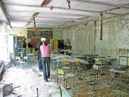 Chernobyl, Ukraine - 06 Jun 2008. Ruins in abandoned Prypiat city, Chernobyl Editorial
