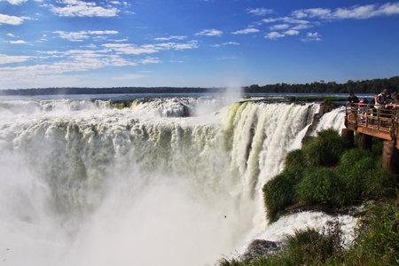Iguazu / Argentina - 05 May 2016: Iguazu falls in Argentina and Brazil