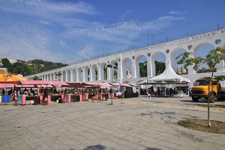 Rio de Janeiro / Brazil - 07 May 2016: Carioca Aqueduct in Rio de Janeiro, Brazil