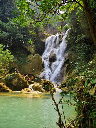 The waterfall in the jungle, Laos Stock fotó