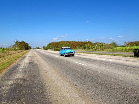 Cienfuegos  Cuba - 25 Feb 2011: Autopista, the road on Cuba