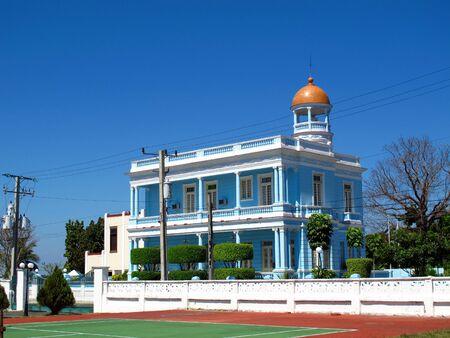 The vintage building in Cienfuegos, Cuba
